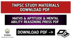 TNPSC Maths Study Material Aptitude and Mental Reasoning Material