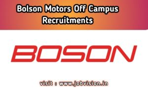 Boson Motors Recruitment