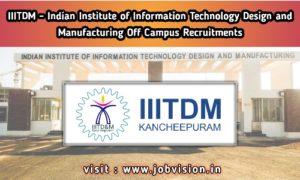 IIITDM Kancheepuram Recruitment