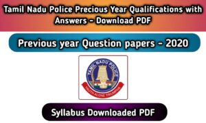 TN Police Constable Previous Question Paper PDF