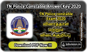 TNUSRB TN Police Constable Answer Key 2020