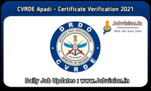 CVRDE Avadi Apprentice Exam Result